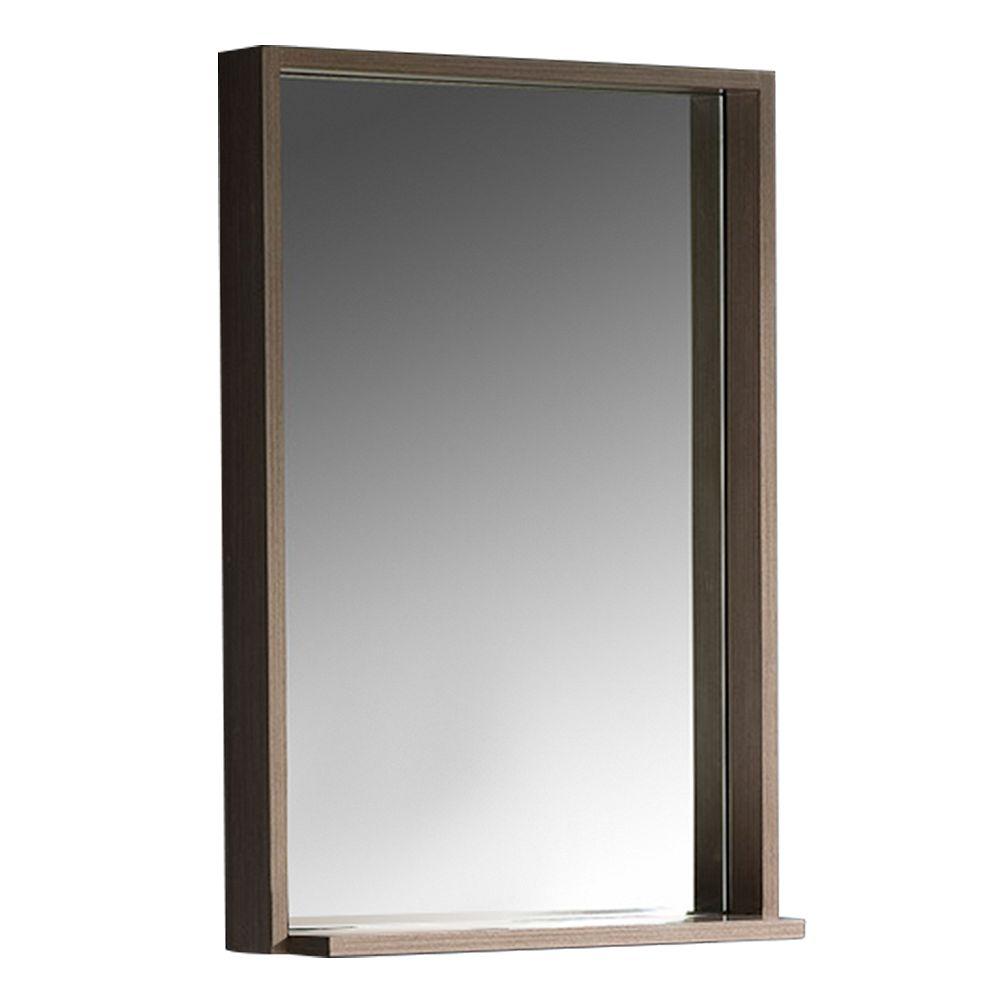 Fresca Allier 22 inch W x 31.50 inch H Framed Wall Mirror with Shelf in Gray Oak