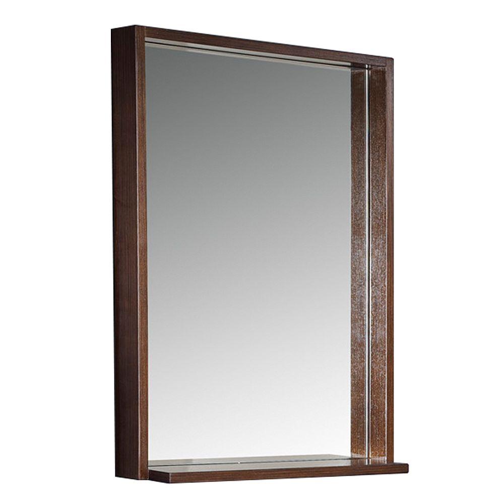 Fresca Allier 22 inch W x 31.50 inch H Framed Wall Mirror with Shelf in Wenge Brown