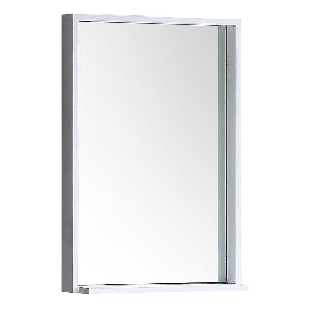 Fresca Allier 22 inch W x 31.50 inch H Framed Wall Mirror with Shelf in White