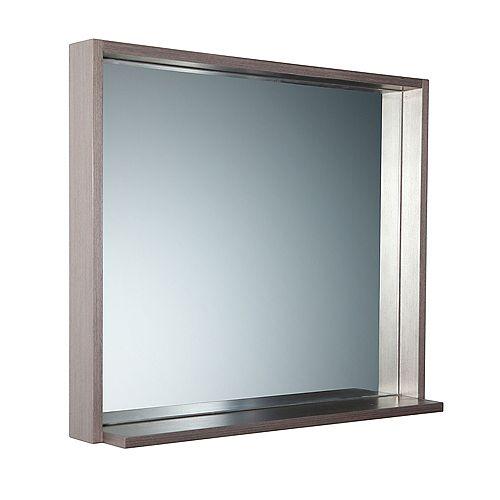 Fresca Allier 29.50 inch W x 31.50 inch H Framed Wall Mirror with Shelf in Gray Oak