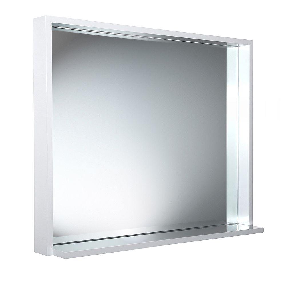 Fresca Allier 35.50 inch W x 31.50 inch H Framed Wall Mirror with Shelf in White