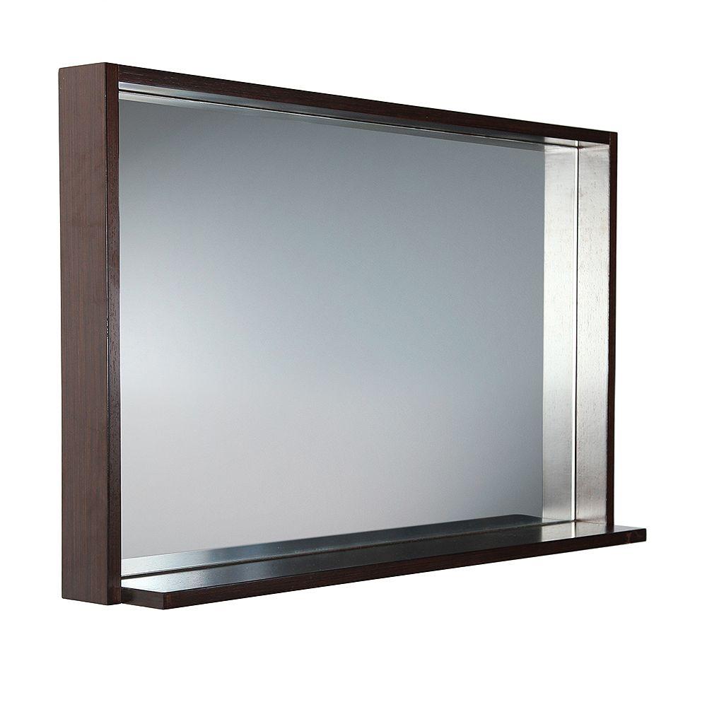 Fresca Allier 39 inch W x 31.50 inch H Framed Wall Mirror with Shelf in Wenge Brown