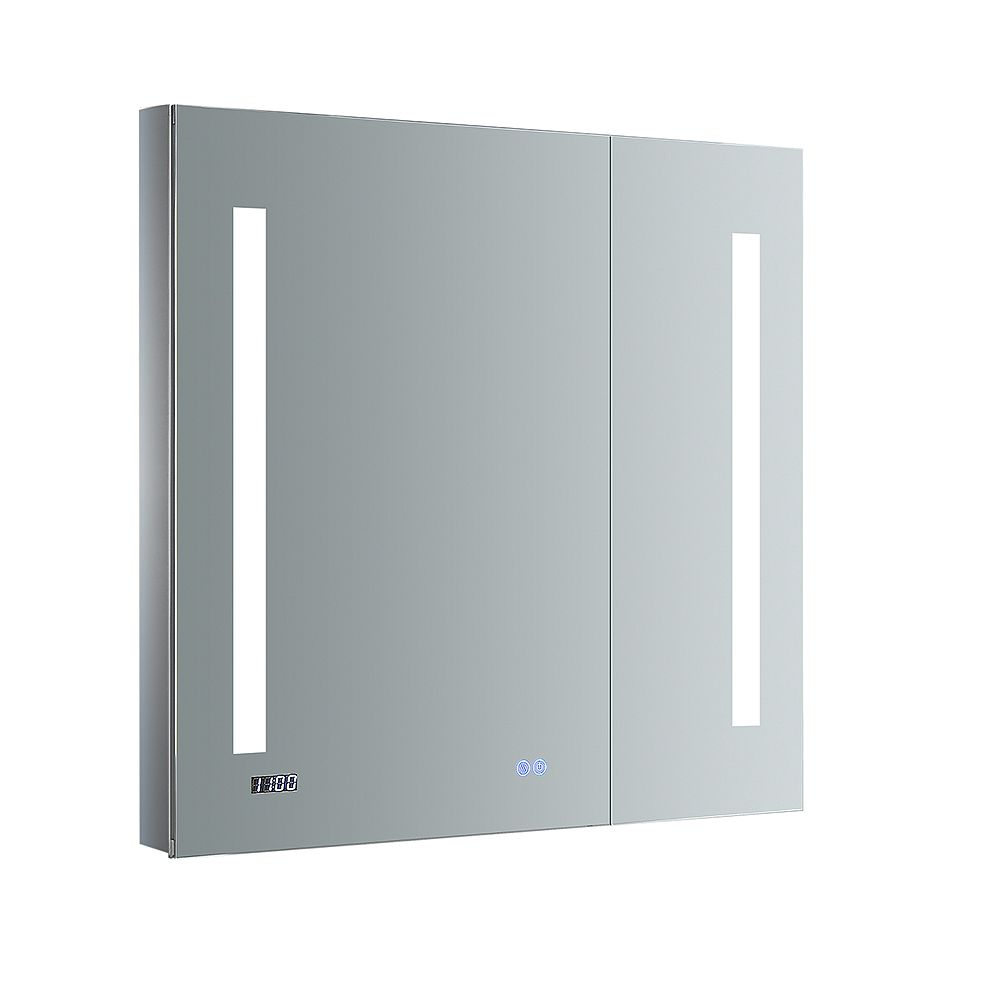 Fresca Tiempo 30 in. W x 30 in. H Recessed or Surface Mount Medicine Cabinet with LED Lighting and Defogger