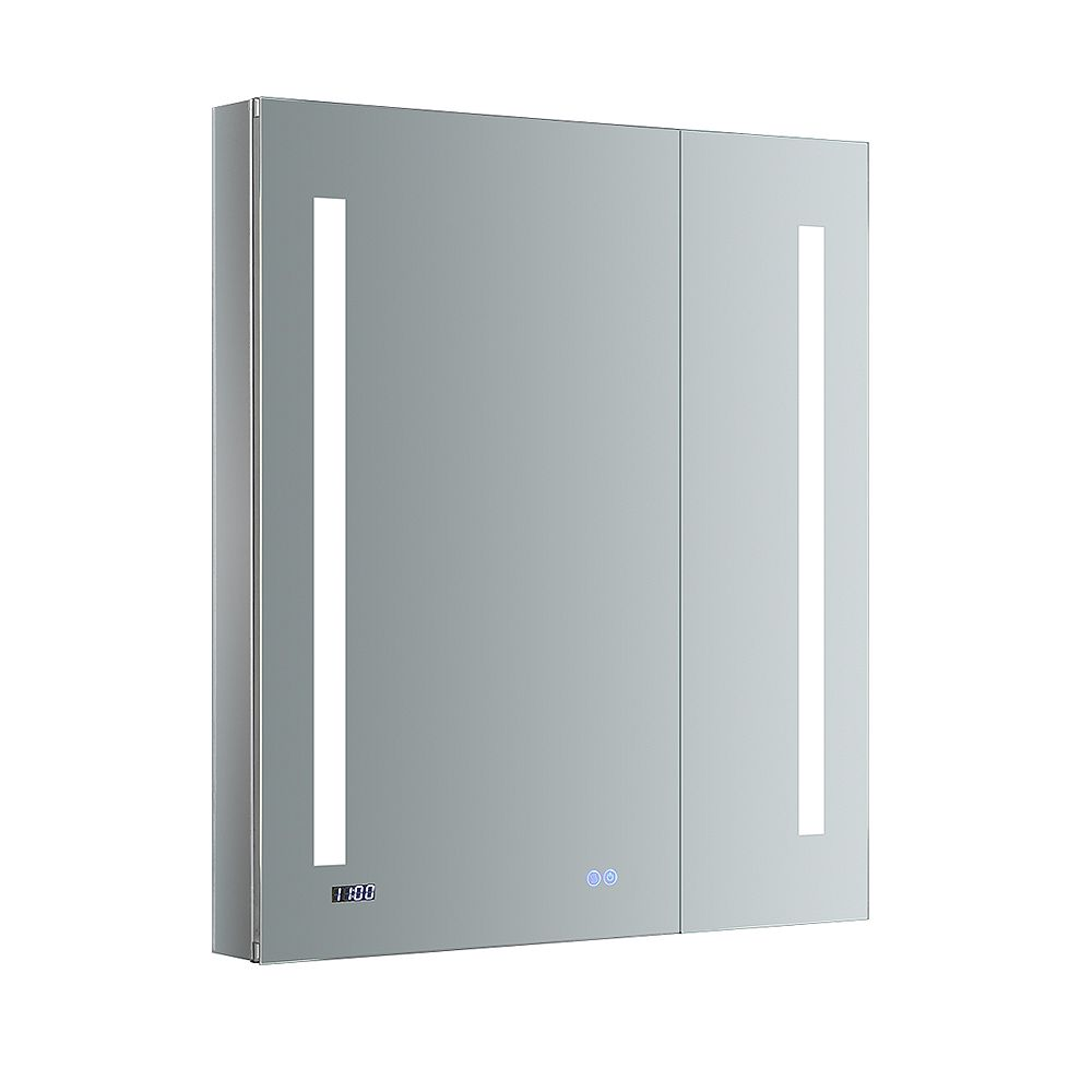 Fresca Tiempo 30 in. W x 36 in. H Recessed or Surface Mount Medicine Cabinet with LED Lighting and Defogger