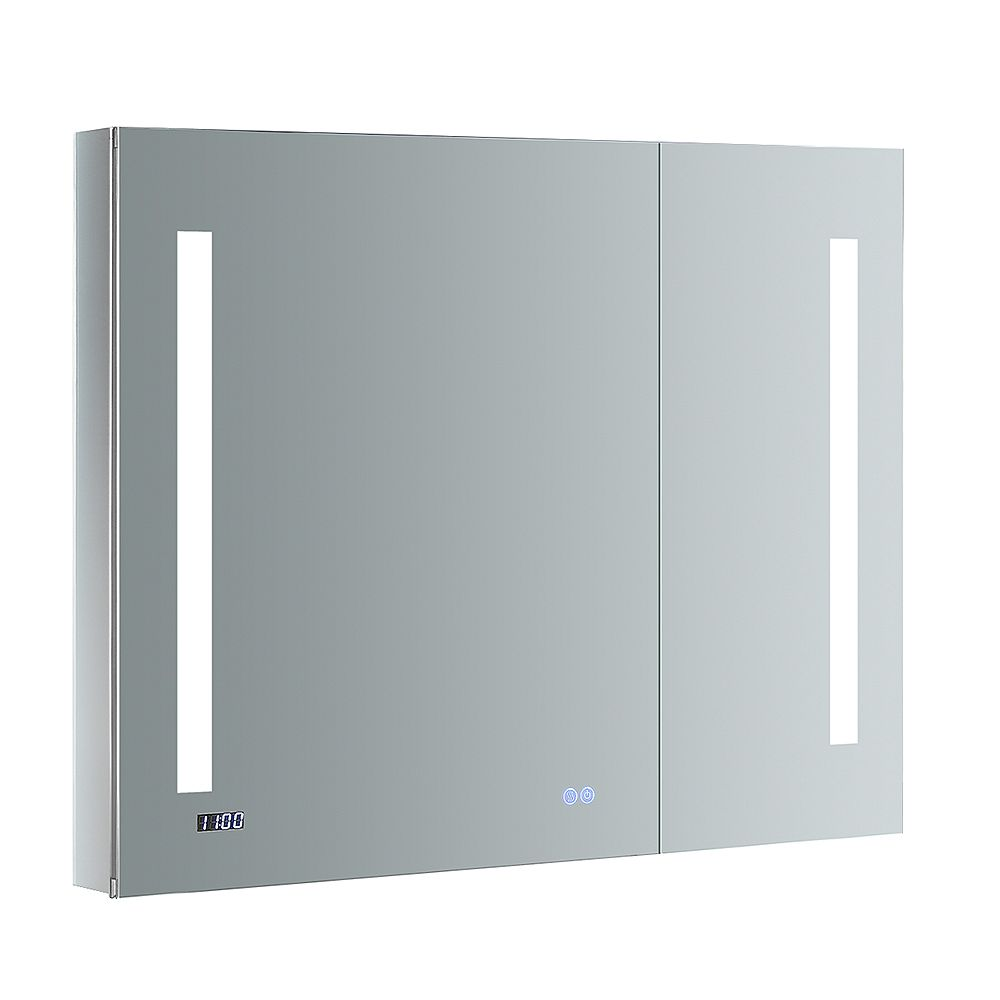 Fresca Tiempo 36 in. W x 30 in. H Recessed or Surface Mount Medicine Cabinet with LED Lighting and Defogger