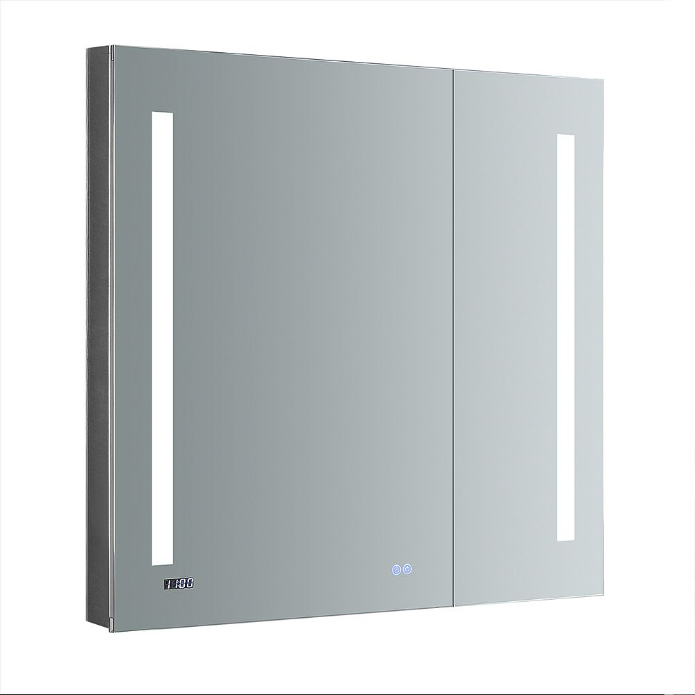 Fresca Tiempo 36 in. W x 36 in. H Recessed or Surface Mount Medicine Cabinet with LED Lighting and Defogger