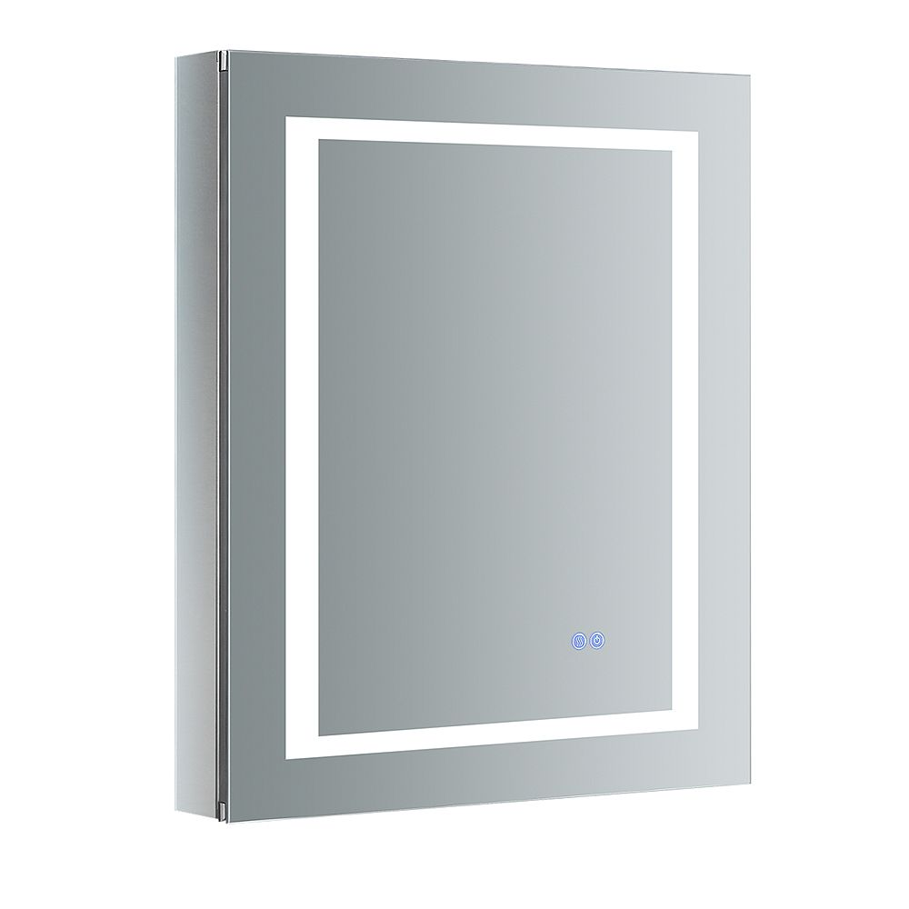 Fresca Spazio 24in. W x 30in. H Recessed or Surface Mount Medicine Cabinet with LED Lighting and LHS Hinge