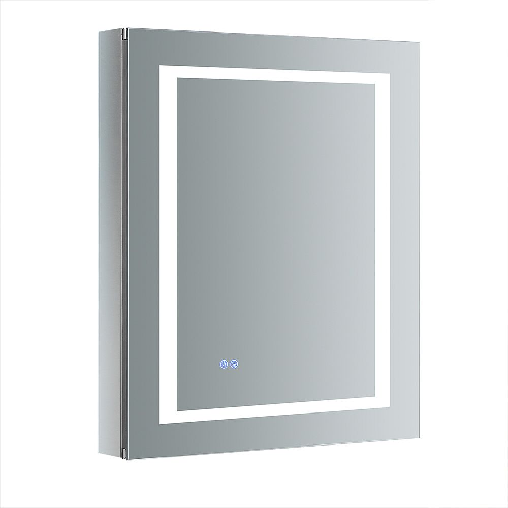 Fresca Spazio 24in. W x 30in. H Recessed or Surface Mount Medicine Cabinet with LED Lighting and RHS Hinge