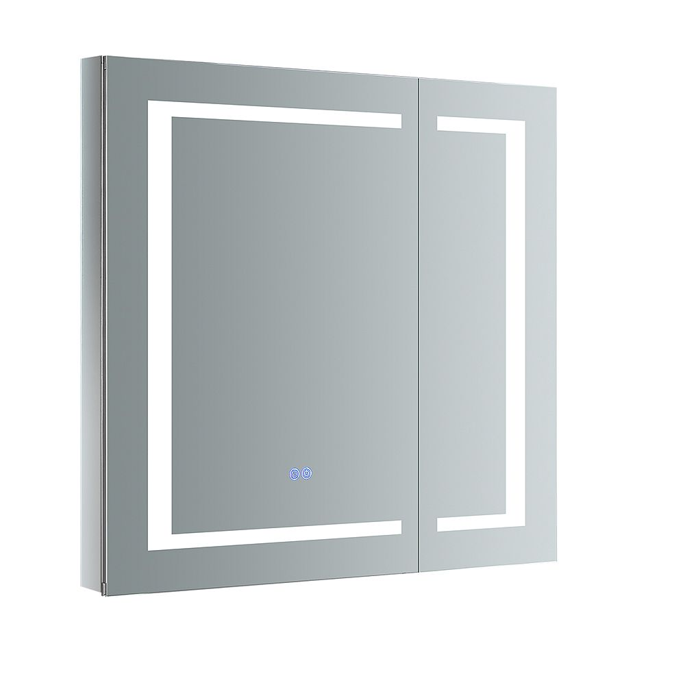 Fresca Spazio 30 in. W x 30 in. H Recessed or Surface Mount Medicine Cabinet with LED Lighting and Defogger