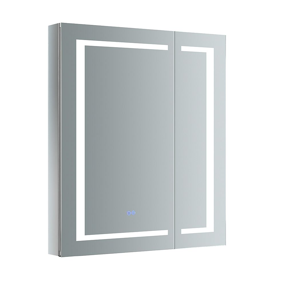 Fresca Spazio 30 in. W x 36 in. H Recessed or Surface Mount Medicine Cabinet with LED Lighting and Defogger