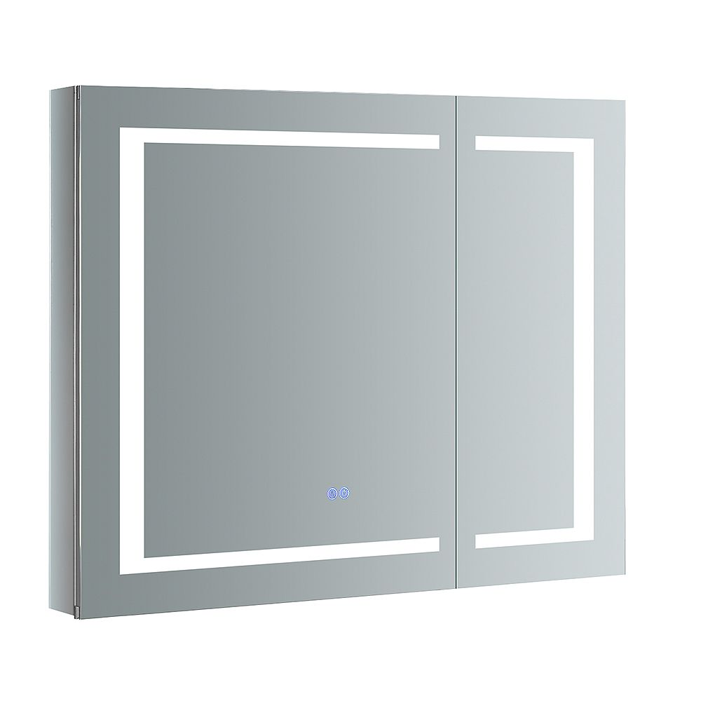 Fresca Spazio 36 in. W x 30 in. H Recessed or Surface Mount Medicine Cabinet with LED Lighting and Defogger