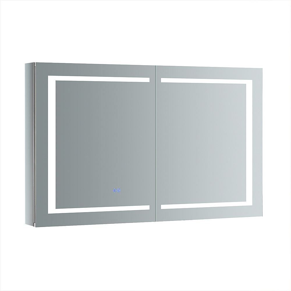 Fresca Spazio 48 in. W x 30 in. H Recessed or Surface Mount Medicine Cabinet with LED Lighting and Defogger