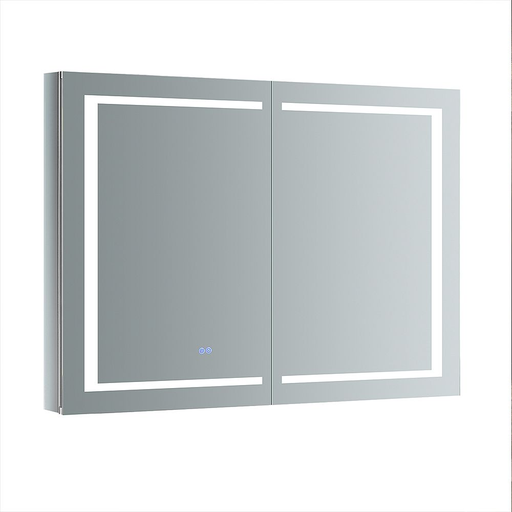 Fresca Spazio 48 in. W x 36 in. H Recessed or Surface Mount Medicine Cabinet with LED Lighting and Defogger