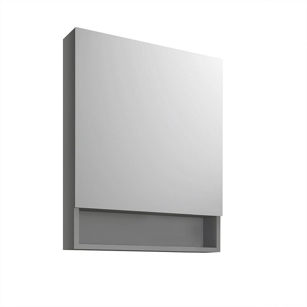 Fresca 24 inch x 34 inch Surface Mount Medicine Cabinet with Bottom Shelf in Gray
