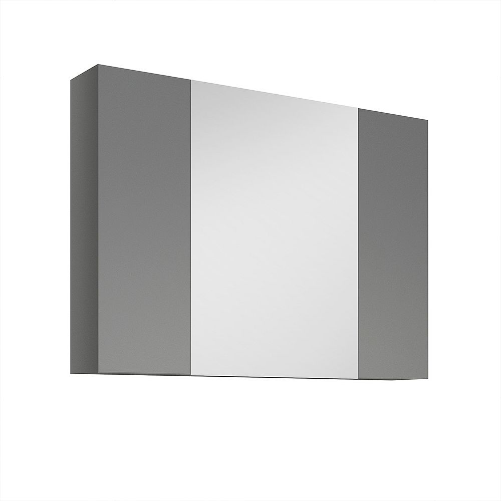 Fresca Medello 31.50 inch x 24 inch Surface Mount Tri-View Medicine Cabinet in Gray