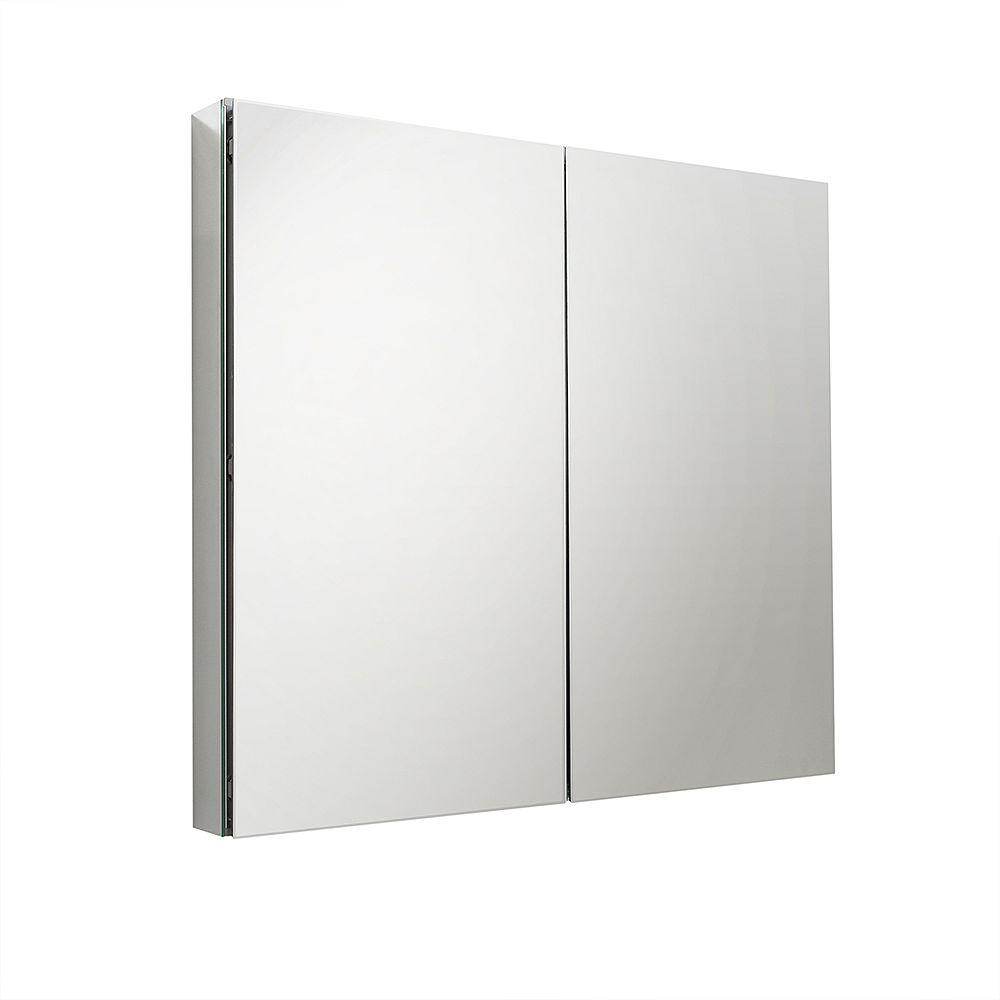 Fresca 39.5 inch W x 26 inch H Frameless Recessed or Surface-Mount Bi-view Bathroom Medicine Cabinet
