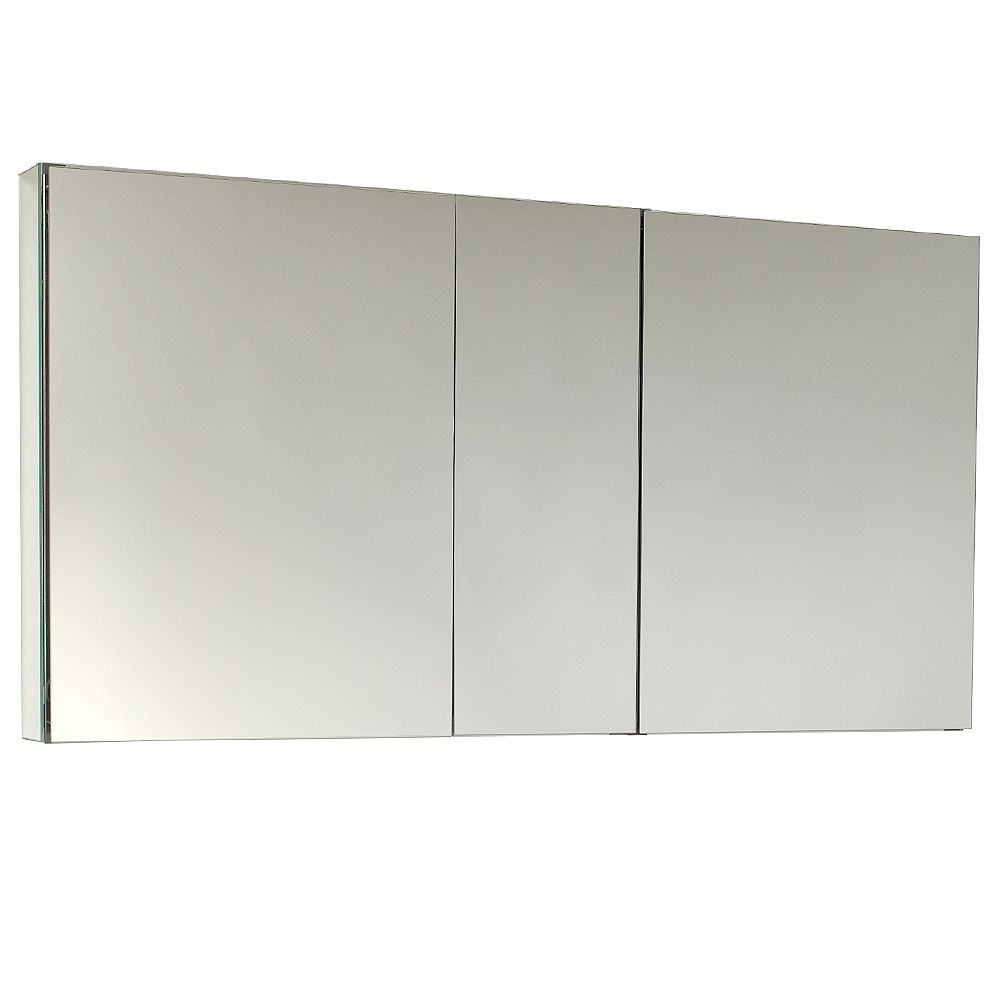 Fresca 49 inch W x 26 inch H Frameless Recessed or Surface-Mount Tri-view Bathroom Medicine Cabinet