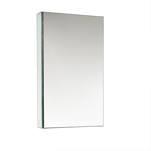 Fresca 15 inch W x 26 inch H x 5 inch D Frameless Recessed or Surface-Mount Bathroom Medicine Cabinet