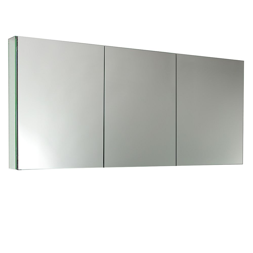 Fresca 59 in. W x 26 in. H x 5 in. D Frameless Recessed or Surface-Mount Tri-view Bathroom Medicine Cabinet
