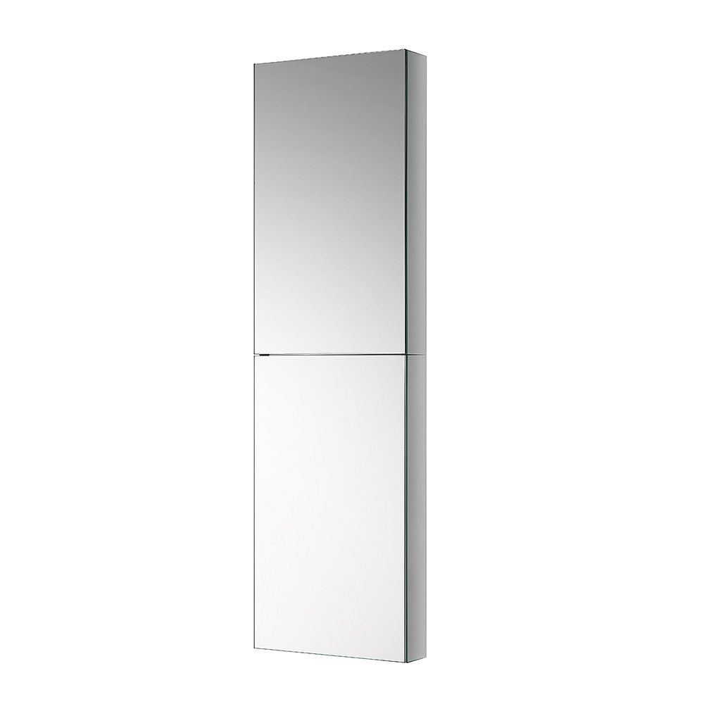 Fresca 15 inch W x 52 inch H x 5 inch D Frameless Recessed or Surface-Mounted Bathroom Medicine Cabinet