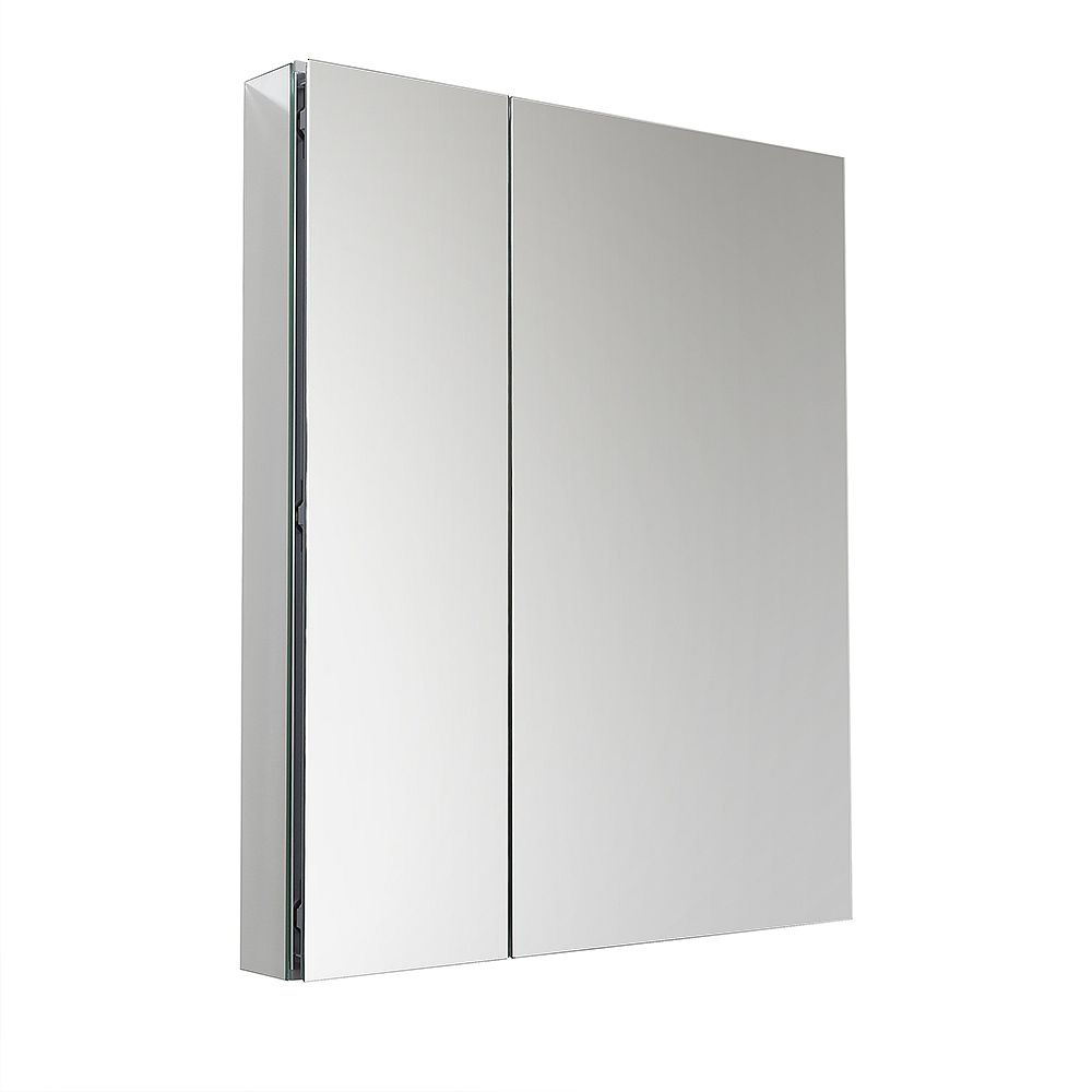 Fresca 29.5 inch W x 36 inch H Frameless Recessed or Surface-Mounted Bi-view Bathroom Medicine Cabinet