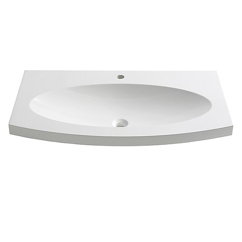 Energia 36 inch Acrylic Single Integrated Basin Vanity Top in White