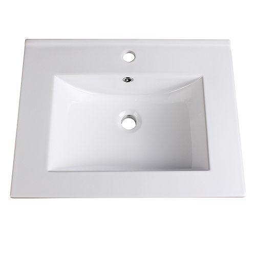 Torino 24 inch Ceramic Single Integrated Basin Vanity Top in White