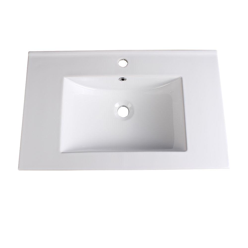 Fresca Torino 30 inch Ceramic Single Integrated Basin Vanity Top in White