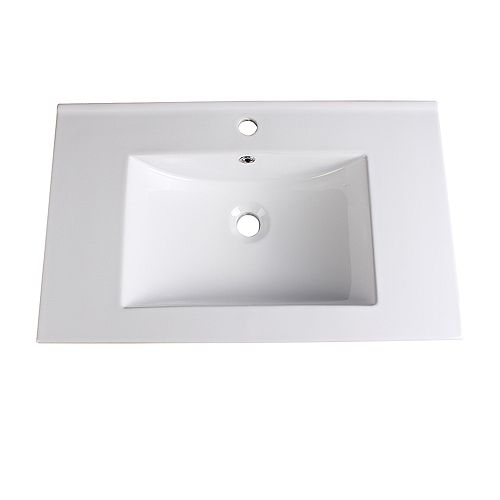 Torino 30 inch Ceramic Single Integrated Basin Vanity Top in White