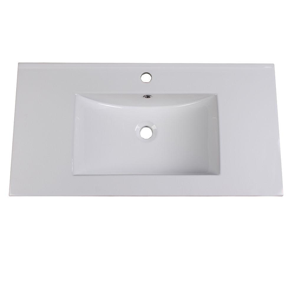Fresca Torino 36 inch Ceramic Single Integrated Basin Vanity Top in White