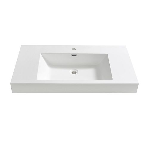 Valencia 42 inch Acrylic Single Integrated Basin Vanity Top in White