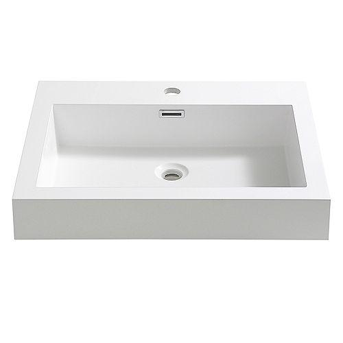 Nano 24 inch Acrylic Single Integrated Basin Vanity Top in White