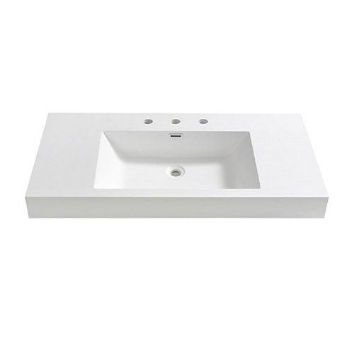 Mezzo 40 inch Acrylic Single Integrated Basin Vanity Top in White