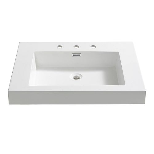 Potenza 28 inch Acrylic Single Integrated Basin Vanity Top in White