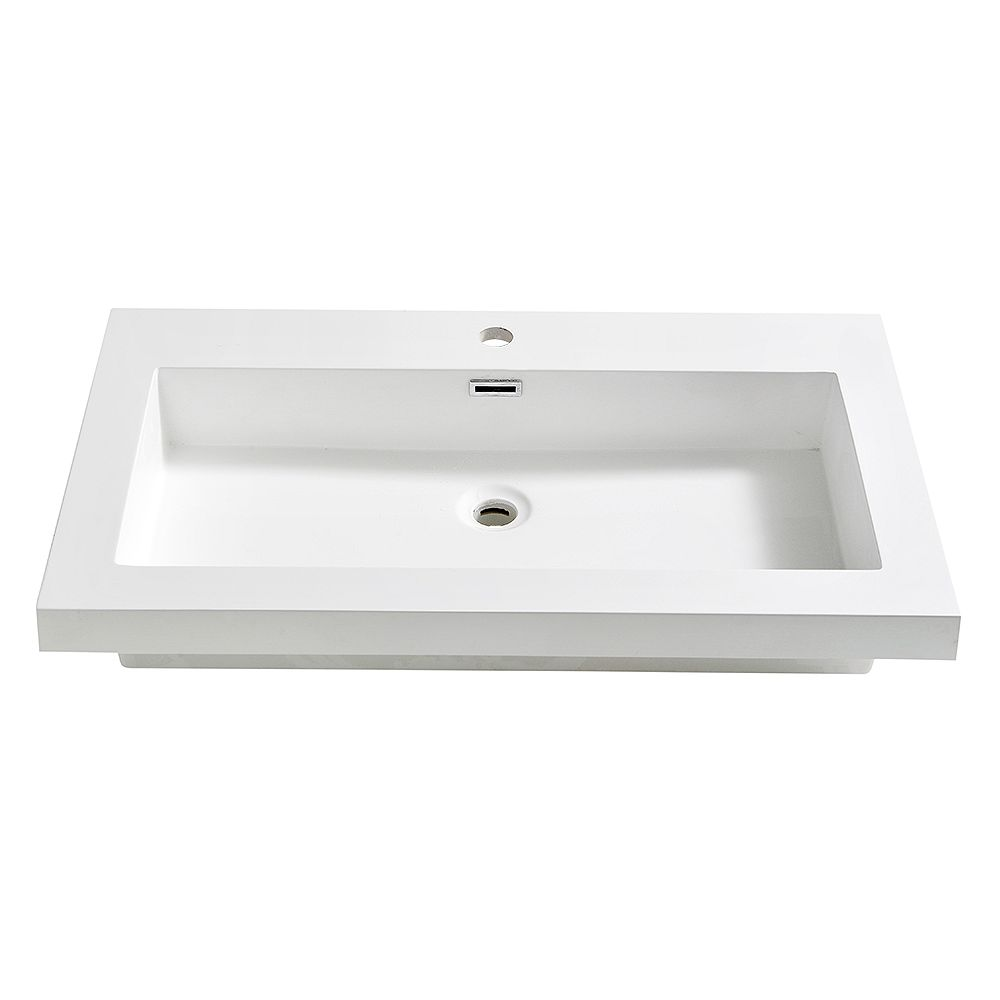 Fresca Medio 32 inch Acrylic Single Integrated Basin Vanity Top in White