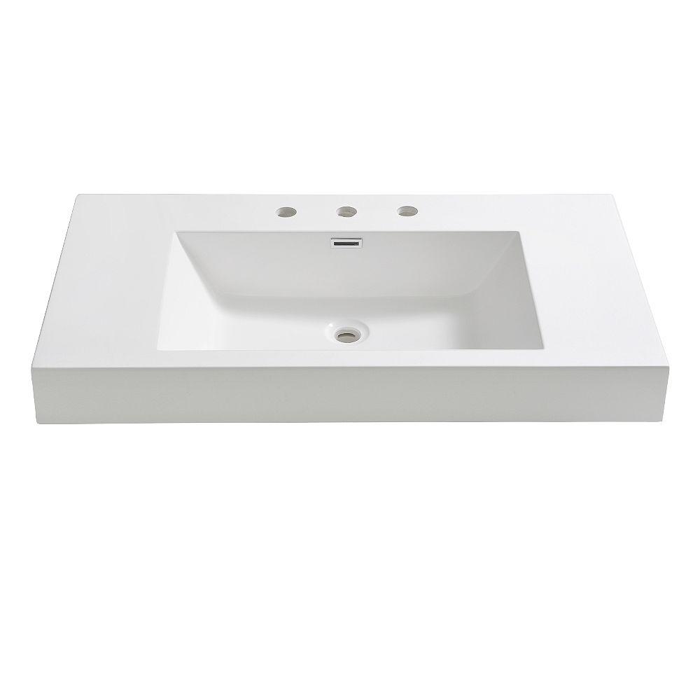 Fresca Vista 36 inch Acrylic Single Integrated Basin Vanity Top in White