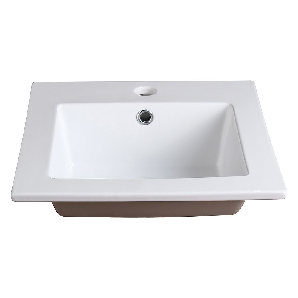 Fresca Allier 16 inch Ceramic Single Integrated Basin Vanity Top in White with Single Hole