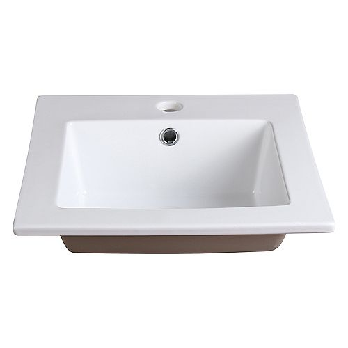 Allier 16 inch Ceramic Single Integrated Basin Vanity Top in White with Single Hole