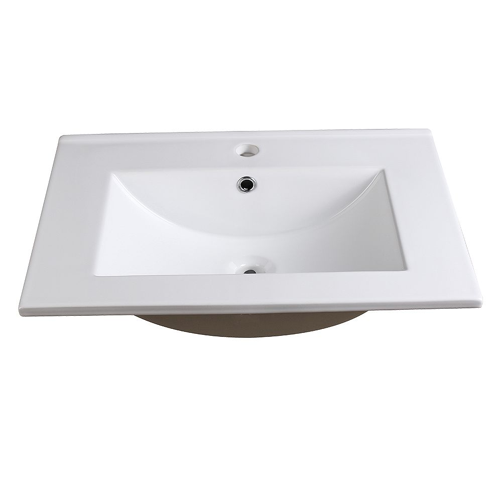 Fresca Allier 24 inch Ceramic Single Integrated Basin Vanity Top in White with Single Hole
