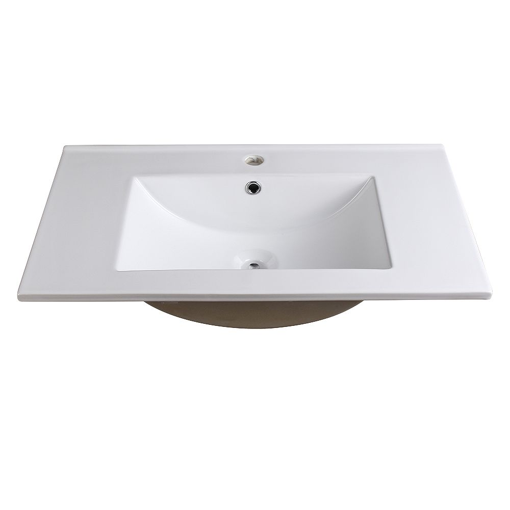 Fresca Allier 30 inch Ceramic Single Integrated Basin Vanity Top in White with Single Hole