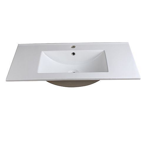 Allier 36 inch Ceramic Single Integrated Basin Vanity Top in White with Single Hole