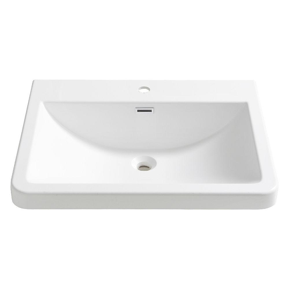 Fresca Milano 26 inch Acrylic Single Integrated Basin Vanity Top in White with Single Hole