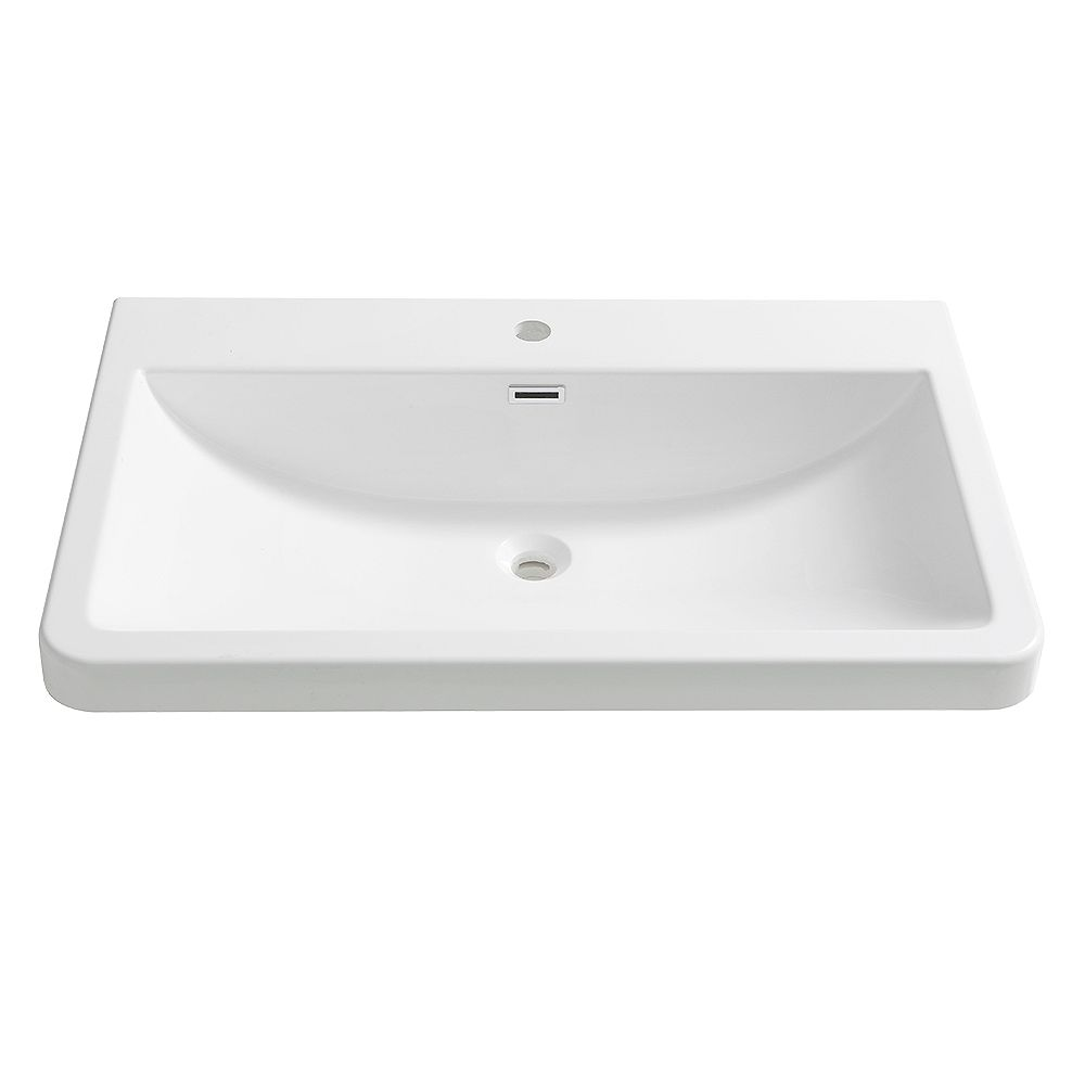 Fresca Milano 32 inch Acrylic Single Integrated Basin Vanity Top in White with Single Hole