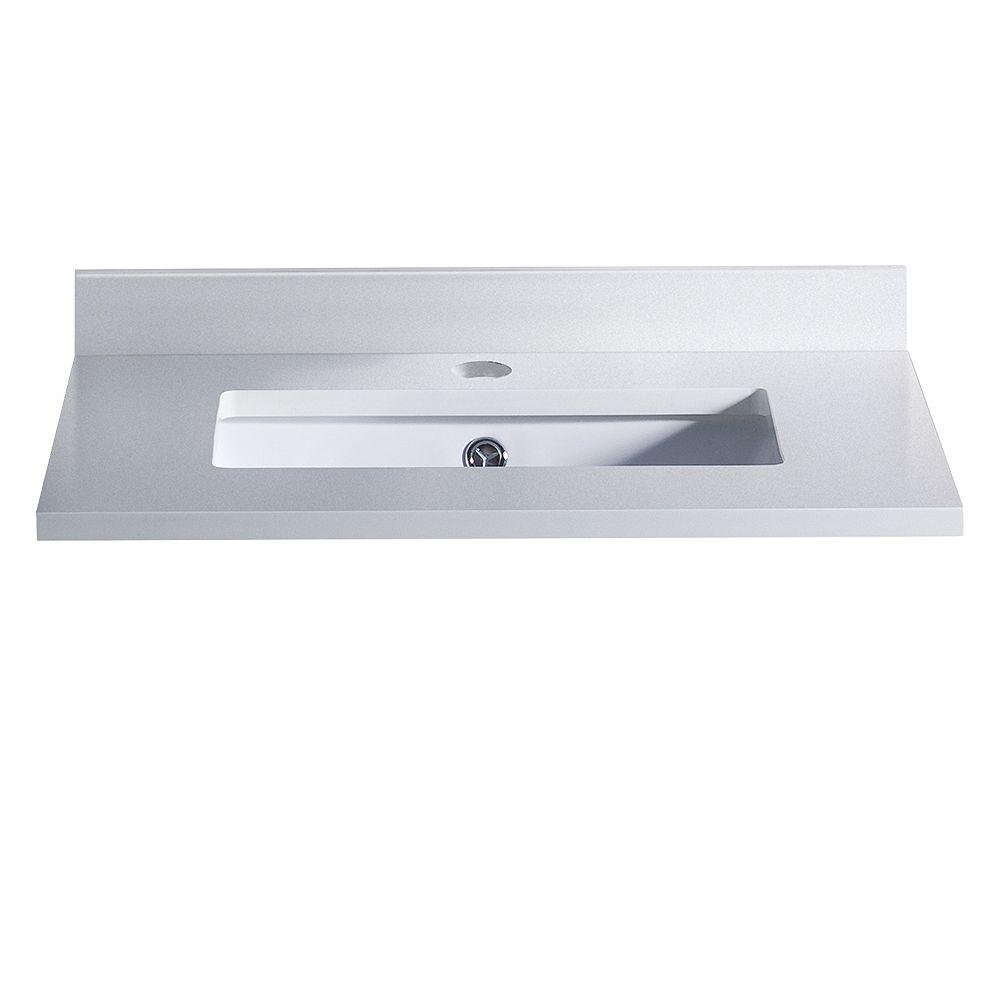 Fresca Oxford 24 inch Quartz Stone Single Undermount Basin Vanity Top in White