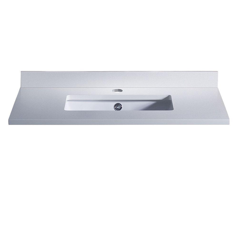 Fresca Oxford 30 inch Quartz Stone Single Undermount Basin Vanity Top in White