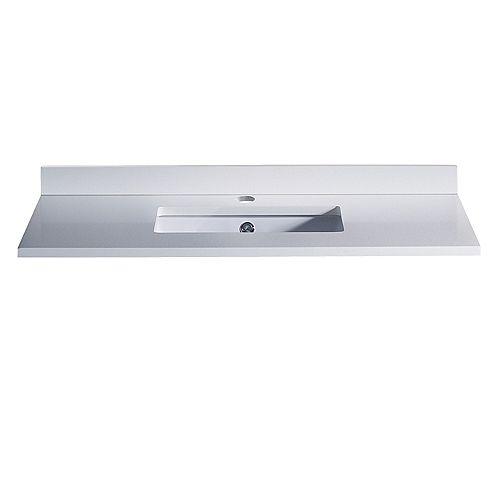 Oxford 36 inch Quartz Stone Single Undermount Basin Vanity Top in White