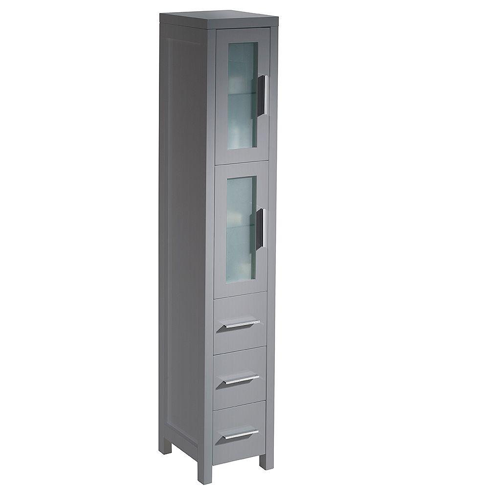 Fresca Torino 12 inch W x 15 inch D x 68.13 inch H Bathroom Linen Storage Tower Cabinet in Gray