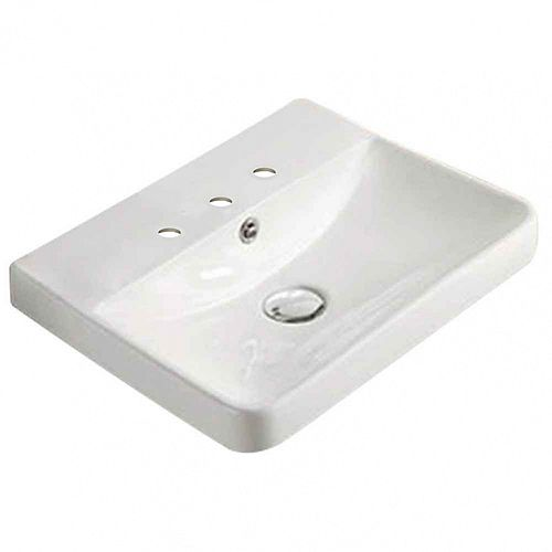 15.82-inch W 13.97-inch Wall Mount D Ceramic Top in White Color for 3H8-inch Faucet