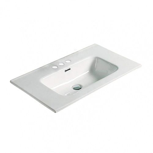 24.16-inch W 18.31-inch Drop in D Ceramic Top in White Color for 3H4-inch Faucet