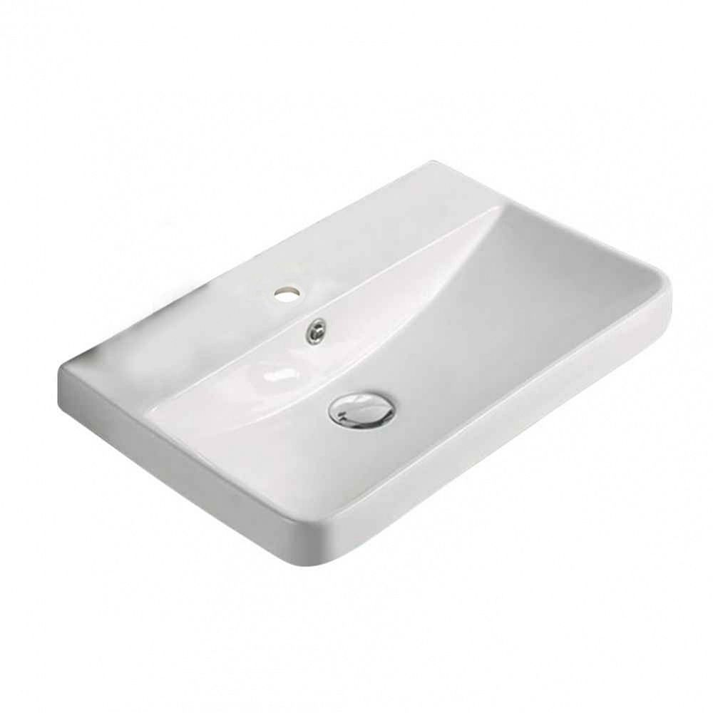 American Imaginations 19.88-inch W 13.98-inch Above Counter D Ceramic Top in White Color for 1 Hole Faucet